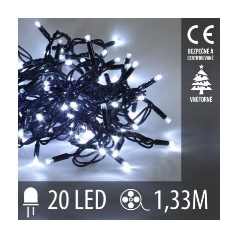 Vianočná LED svetelná reťaz vnútorná - 20LED - 1,33M Studená Biela