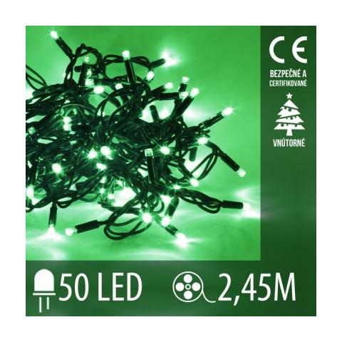 Vianočná LED svetelná reťaz vnútorná - 50LED - 2,45M Zelená