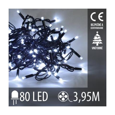 Vianočná LED svetelná reťaz vnútorná - 80LED - 3,95M Studená Biela
