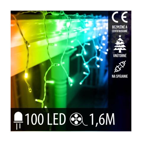 Vianočná LED svetelná záclona na spájanie vnútorná 100LED - 1,6M Multicolour