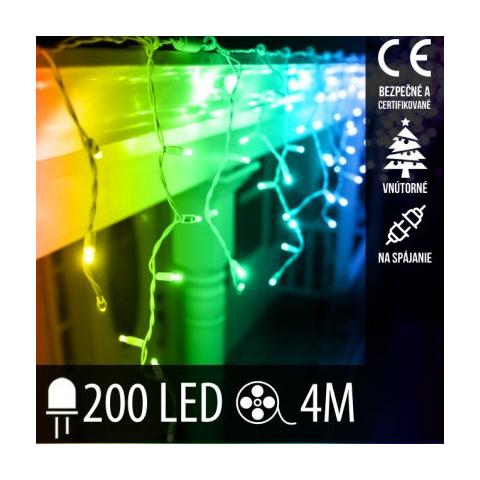 Vianočná LED svetelná záclona na spájanie vnútorná 200LED - 4M Multicolour