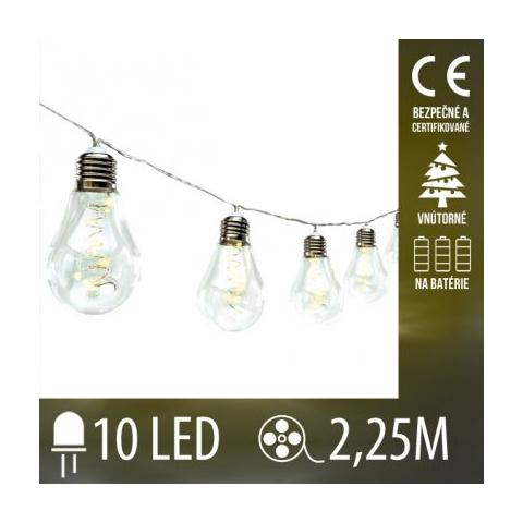 LED svetelná reťaz vnútorná na batérie - tvar hrušky - 10LED - 2,25M Teplá Biela
