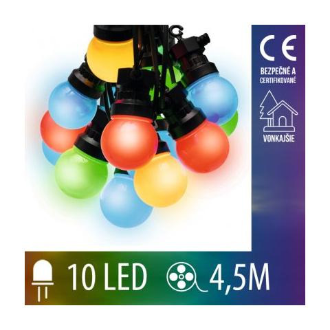 LED svetelná reťaz vonkajšia - tvar gule - 10LED - 4,5M Multicolour