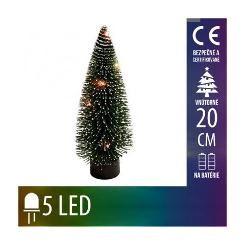 Umelý Vianočný stromček LED na batérie - 5LED - 20CM Multicolour