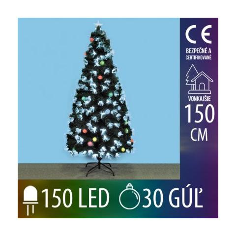 Umelý Vianočný stromček LED s optickými vláknami a EVA guľami - 150LED+30EVA gúľ - 150CM Multicolour