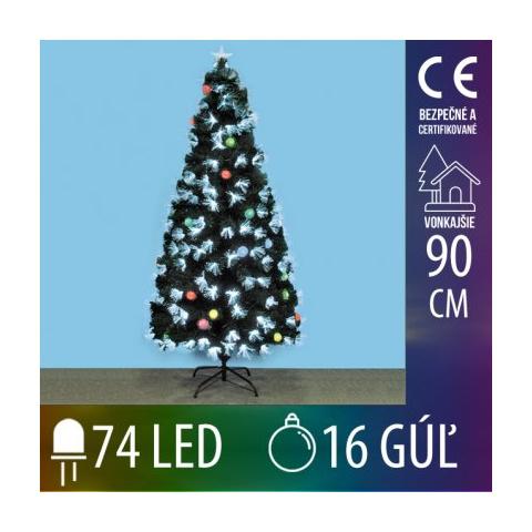 Umelý Vianočný stromček LED s optickými vláknami a EVA guľami - 74LED+16EVA gúľ - 90CM Multicolour