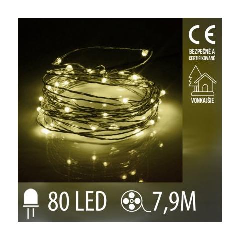 Vianočná LED svetelná mikro reťaz vonkajšia - 80LED - 7,9M Teplá Biela