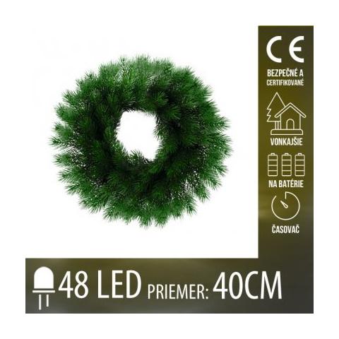 Vianočná LED svetelná ozdoba vonkajšia s časovačom - na batérie - umelý veniec - 48 LED - 40CM -Teplá biela