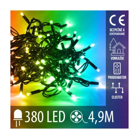 Vianočná LED svetelná reťaz CLUSTER vonkajšia + programator - 380LED - 4,9M Multicolour