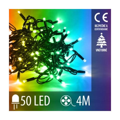 Vianočná LED svetelná reťaz vnútorná - 50LED - 4M Multicolour