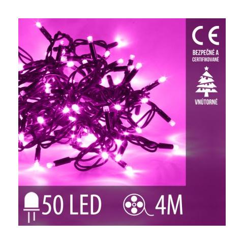 Vianočná LED svetelná reťaz vnútorná - 50LED - 4M Ružová