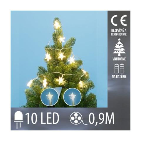 Vianočná LED svetelná reťaz vnútorná na batérie - hviezdičky - 10LED - 0,9M Studená biela