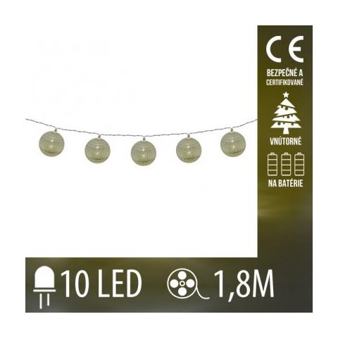 Vianočná LED svetelná reťaz vnútorná na batérie - strieborné klbká vlny - 10LED - 1,8M Teplá biela