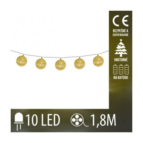 Vianočná LED svetelná reťaz vnútorná na batérie - zlaté klbká vlny - 10LED - 1,8M Teplá biela