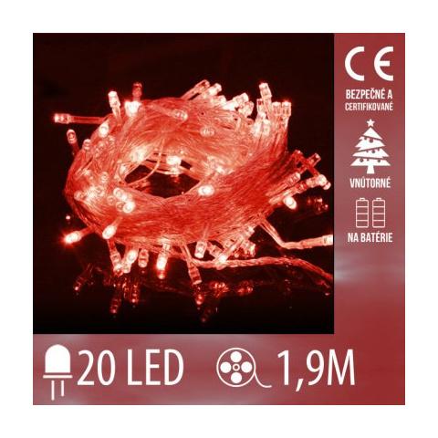 Vianočná LED svetelná reťaz vnútorná na batérie s priesvitným káblom - 20LED - 1,9M Červená