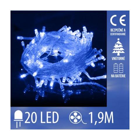 Vianočná LED svetelná reťaz vnútorná na batérie s priesvitným káblom - 20LED - 1,9M Modrá