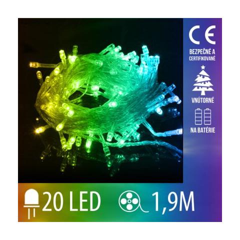 Vianočná LED svetelná reťaz vnútorná na batérie s priesvitným káblom - 20LED - 1,9M Multicolour