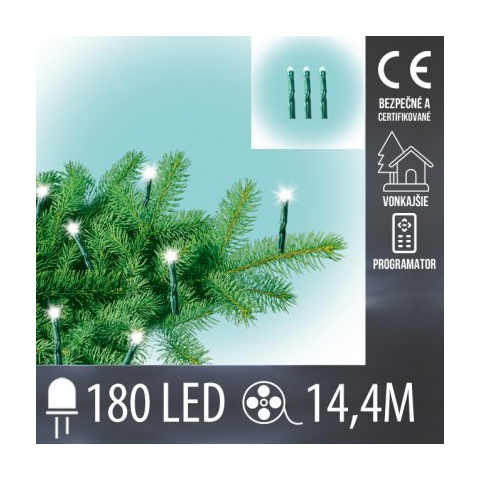 Vianočná LED svetelná reťaz vonkajšia - mini LED žiarovky + programator - 180LED - 14,4M Teplá biela