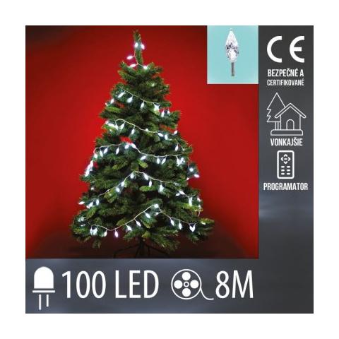 Vianočná LED svetelná reťaz vonkajšia - Šišky + programy - 100LED - 8M Studená biela