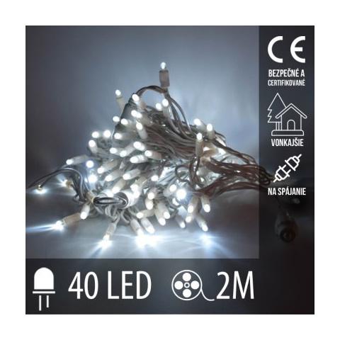 Vianočná LED svetelná reťaz vonkajšia na spájanie - 40LED - 2M Studená Biela