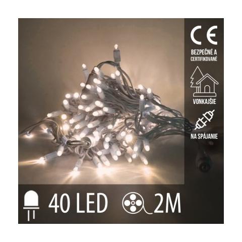 Vianočná LED svetelná reťaz vonkajšia na spájanie - 40LED - 2M Teplá Biela