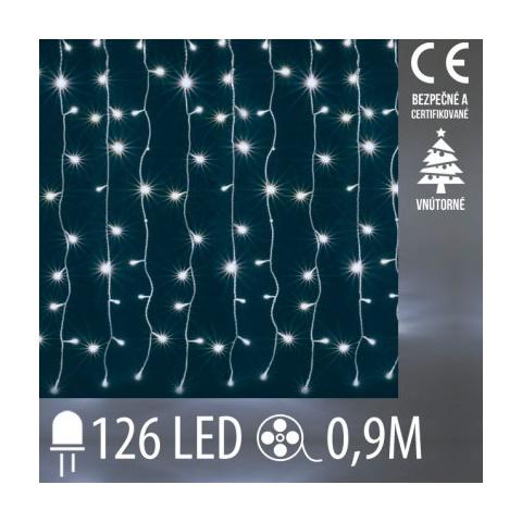Vianočná LED svetelná záclona vnútorná - záves - 126LED - 0,9M Studená biela