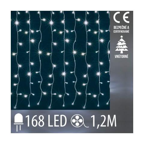 Vianočná LED svetelná záclona vnútorná - záves - 168LED - 1,2M Studená biela