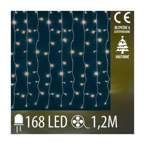 Vianočná LED svetelná záclona vnútorná - záves - 168LED - 1,2M Teplá biela