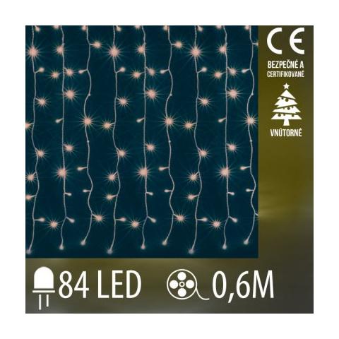 Vianočná LED svetelná záclona vnútorná - záves - 84LED - 0,6M Teplá biela