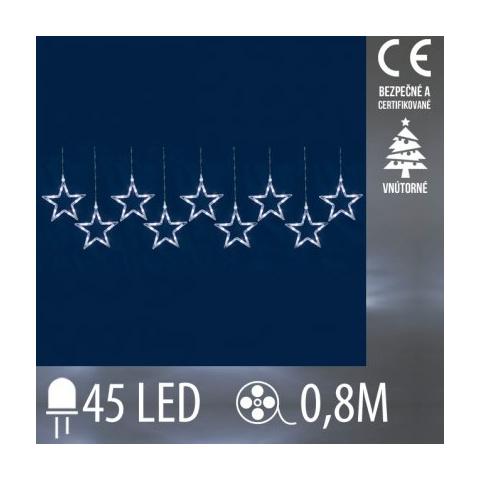Vianočná LED svetelná záclona vnútorná - záves - 9 hviezdy - 45LED - 0,8M Studená biela