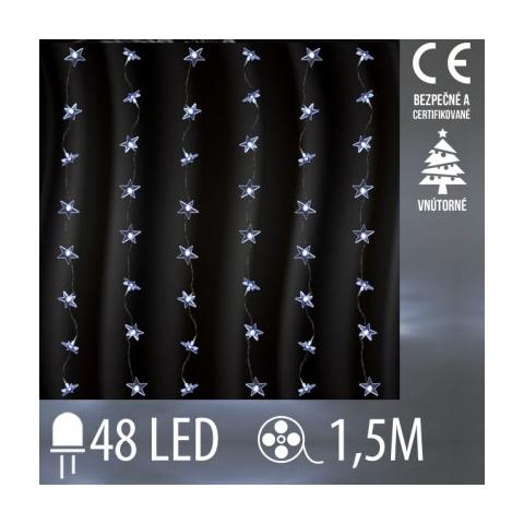 Vianočná LED svetelná záclona vnútorná - záves - hviezdy - 48LED - 1,5M Studená biela