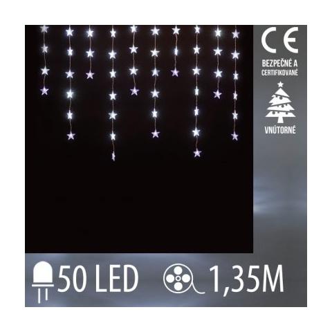 Vianočná LED svetelná záclona vnútorná FLASH - záves - hviezdy - 50LED - 1,35M Studená biela