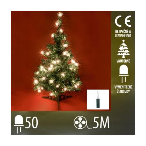 Vianočná svetelná reťaz vnútorná - 50 vymeniteľných žiaroviek - 50M Teplá biela