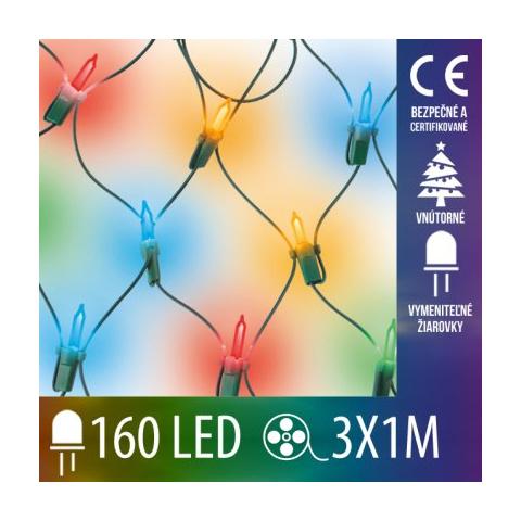 Vianočná svetelná sieť vnútorná - 160 vymeniteľných žiaroviek - 3x1M Multicolour