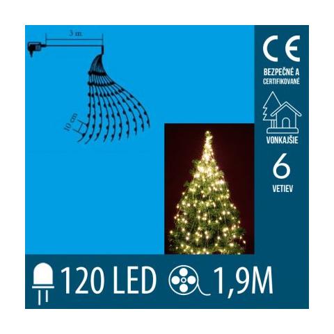 Vianočný LED zväzok svietiacich reťazcov - 6 reťazcov po 20ks LED - 1,9m - Teplá biela