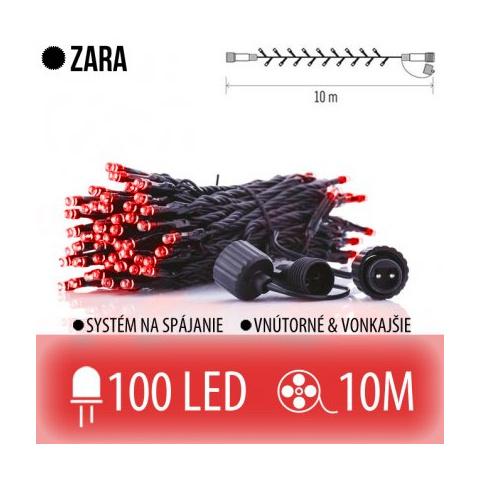 ZARA spojovateľná LED svetelná reťaz vonkajšia - 100LED - 10M Červená