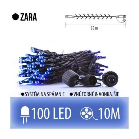 ZARA spojovateľná LED svetelná reťaz vonkajšia - 100LED - 10M Modrá
