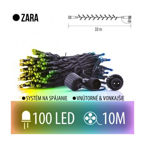 ZARA spojovateľná LED svetelná reťaz vonkajšia - 100LED - 10M Multicolour