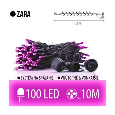 ZARA spojovateľná LED svetelná reťaz vonkajšia - 100LED - 10M Ružová
