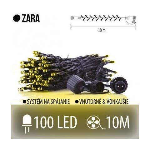 ZARA spojovateľná LED svetelná reťaz vonkajšia - 100LED - 10M Teplá biela