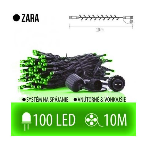 ZARA spojovateľná LED svetelná reťaz vonkajšia - 100LED - 10M Zelená