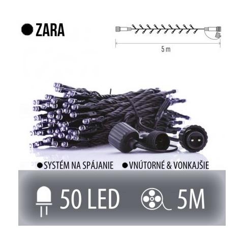 ZARA spojovateľná LED svetelná reťaz vonkajšia - 50LED - 5M Studená biela