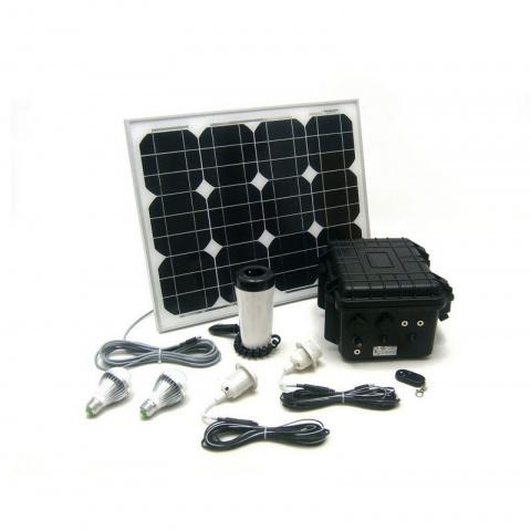 Solárny monokryštalický systém 30 W 230V 12V s USB a LED osvetlením