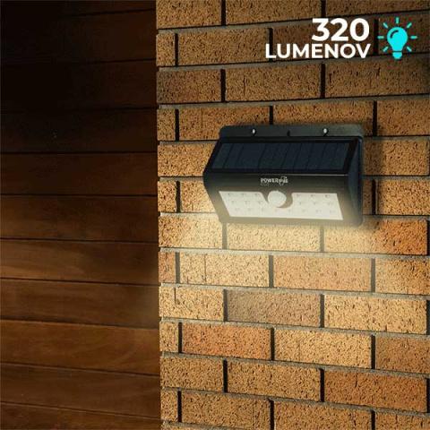 Solárne bezpečnostné LED osvetlenie s pohybovým senzorom POWERplus Boa 20 LED