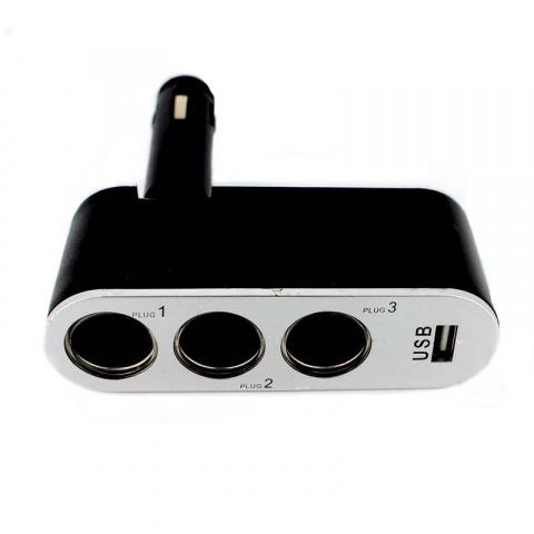Autokonektor - rozbočovač do autozapaľovača 55049 3x výstup 1x USB 1A
