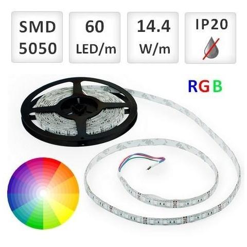 1m RGB LED pásik do interiéru 60 SMD5050 14.4W/m, IP20