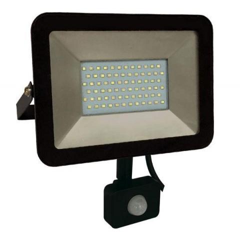 LED reflektor 20W + senzor pohybu, Studená biela