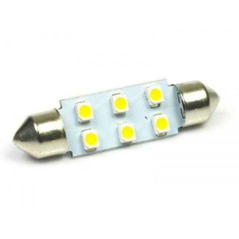 LED auto žiarovka C5W 39mm 6x SMD1210, teplá biela