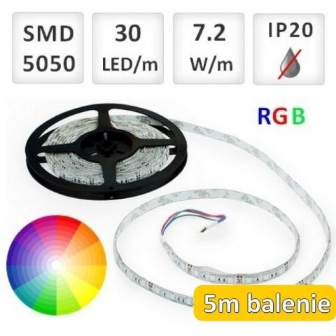 5m bal. RGB LED pásik do interiéru 30 SMD5050 7.2W/m IP20