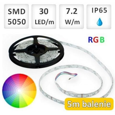 5m RGB LED pásik vodeodolný 30 SMD5050 7.2W/m IP65